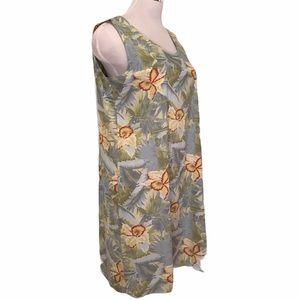 Tropical Floral Print Sleeveless Shift Dress XL